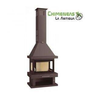 CHIMENEA METÁLICA DE LEÑA MODELO C-203 (CRISTAL SERIGRAFIADO)