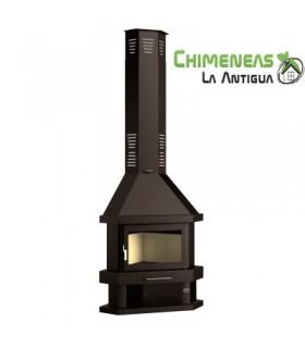 CHIMENEA METÁLICA DE LEÑA RINCONERA MODELO C-200 R